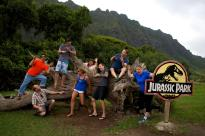 The entire crew after the shoot playing around in Kualoa Ranch where they filmed Jurassic Park