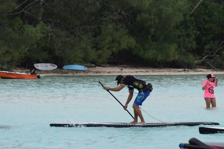 My Tahitian buddy David Foster battling the headwind.